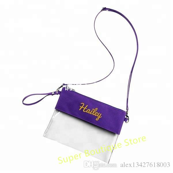 72cdcc3f57a4 Wholesale 5 colors monogrammed approved Stadium Clear Purse zip pouch clutch