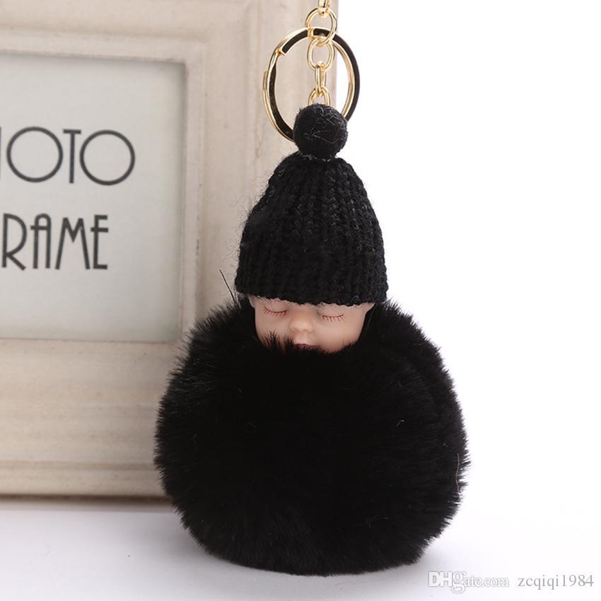 Сладкий пушистый помпон спит детские брелок искусственный мех кролика пом Пон вязаная шляпа кукла брелок автомобиля брелок игрушка модные подарки