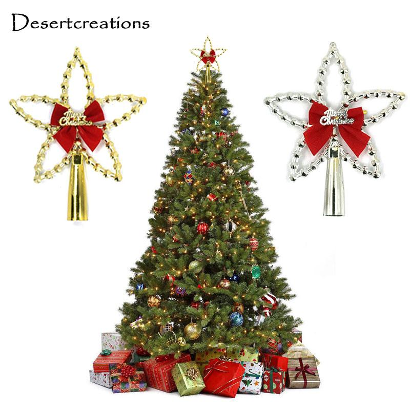 silver gold christmas star xmas tree toppers five pointed star christmas tree topper with bowknot party ornaments decoration 30 glass christmas ornaments - Christmas Star Decorations