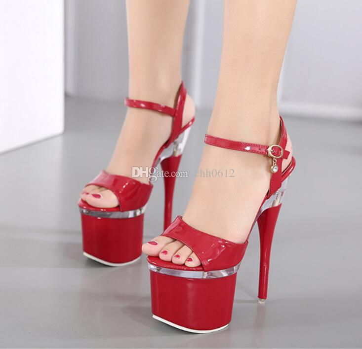 Women Summer Sexy Catwalk Model Pole Dance On The Crystal Platform 18CM Extreme Thin High Heels Sandals womens Pumps Shoes