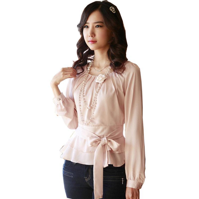 f748a9eb0842 Fashion Women Ol Slim Ruffle Blouses Korean White & Pink Elegant Shirts  Work Suit Casual Chiffon Autumn Shirts