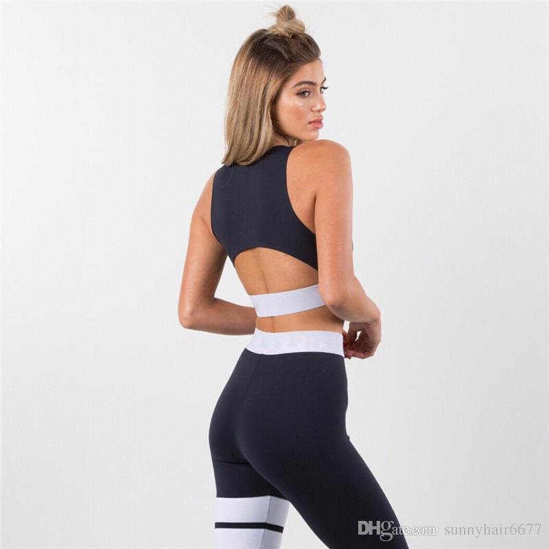 New Hot Women Tracksuits Sportswear Solid Color Slim Sport Baseball Sleeveless Running Sexy Backless Boxing Yoga Sportswear YJ01
