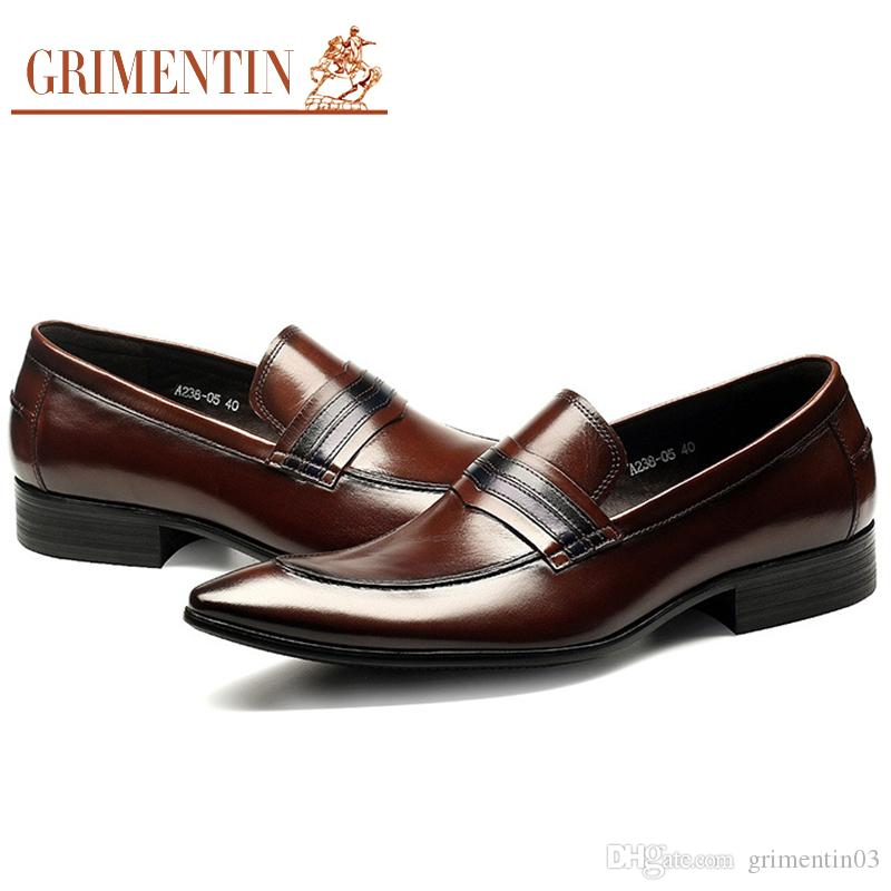 de38b212a GRIMENTIN Newest Hot Sale Brand Men Loafers Italian Fashion Brown Formal Men  Business Shoes Genuine Leather Wedding Party Mens Dress Shoes Shoes For  Women ...