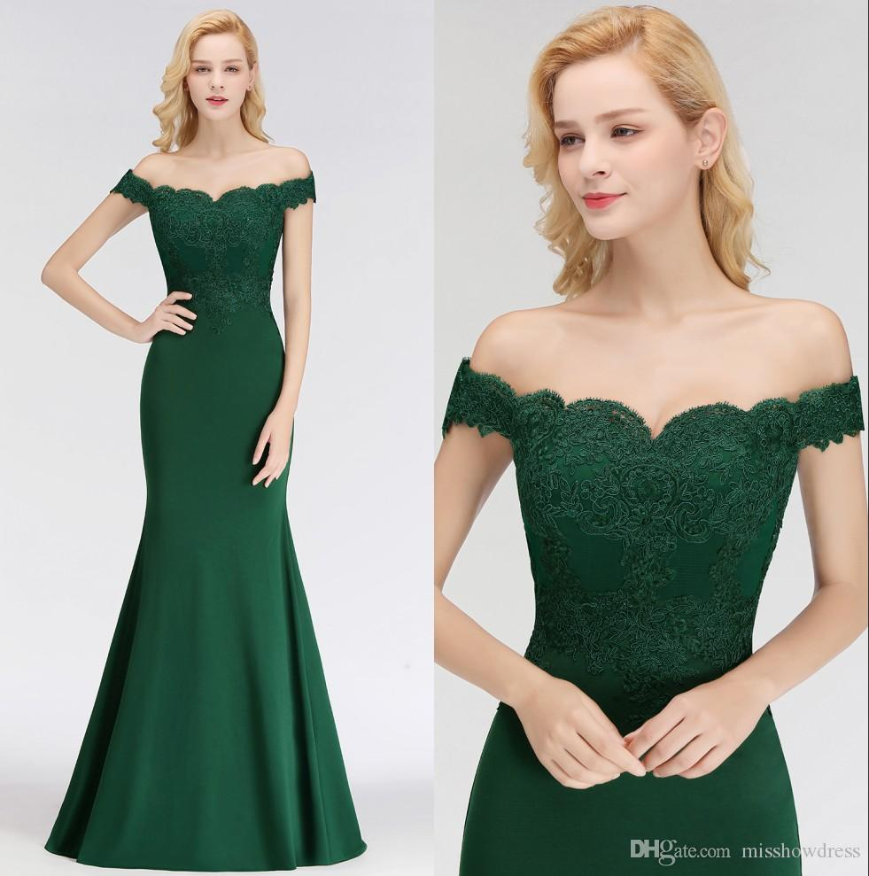 Dark Green Off The Shoulder Mermaid Long Bridesmaid