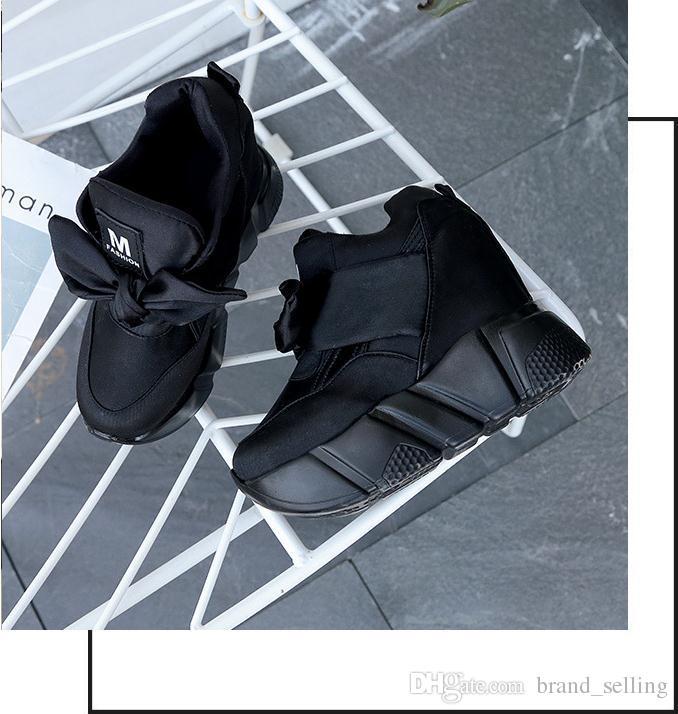 Women Retro hidden heel shoes Solid slip on lace up bowknot pumps casual S high heel 12cm Non-slip soft bottom platform shoes