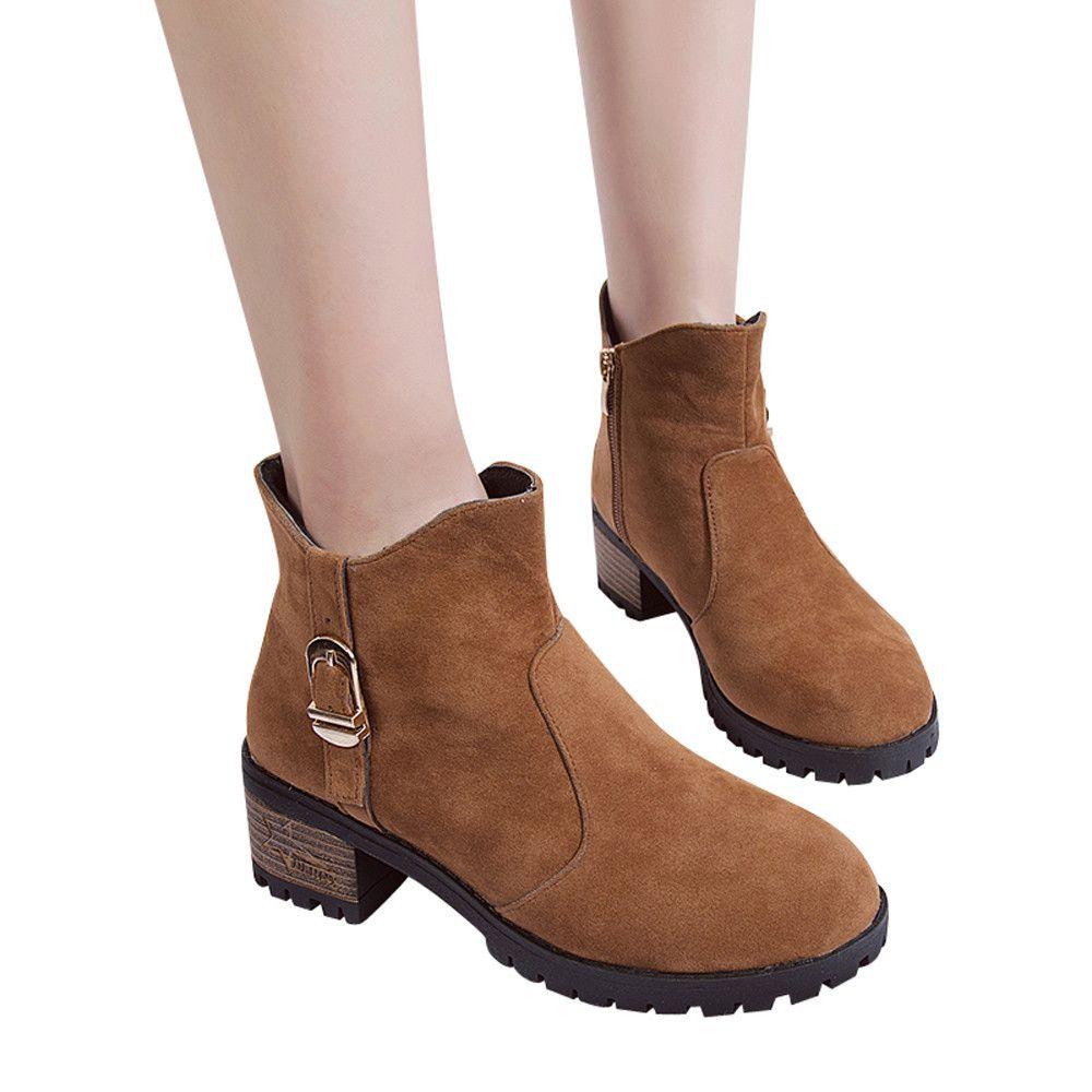 c92d12eb Compre Venta Al Por Mayor Mujeres Botas Zapatos Casuales Martain Boots  Gamuza Botines De Tacón Alto Bota De Cremallera Chaussure Femme Talon  Bottine # A3 A ...
