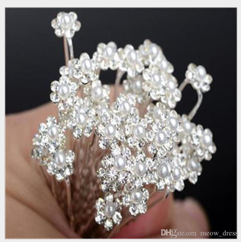 U Shape Inlay White Pearl Clear Crystal Rhinestone Beautiful Crystal Hairpins Fit Elegant Women Accessories