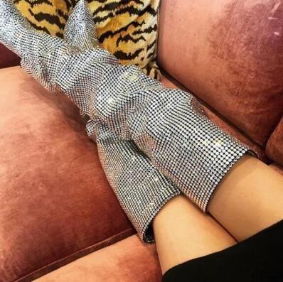 2018 super caliente de lujo de las mujeres botas de cristal sobre la rodilla Sexy dedo puntiagudo de las señoras botas de tacón alto moda caballero botas