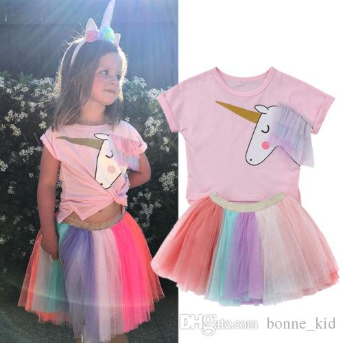 Kids Girls Unicorn Pink T-shirt Tutu Rainbow Skirt Dresses Outfits 2018 Summer Fashion Kids Clothes Kid Girl Princess Dress Clothing