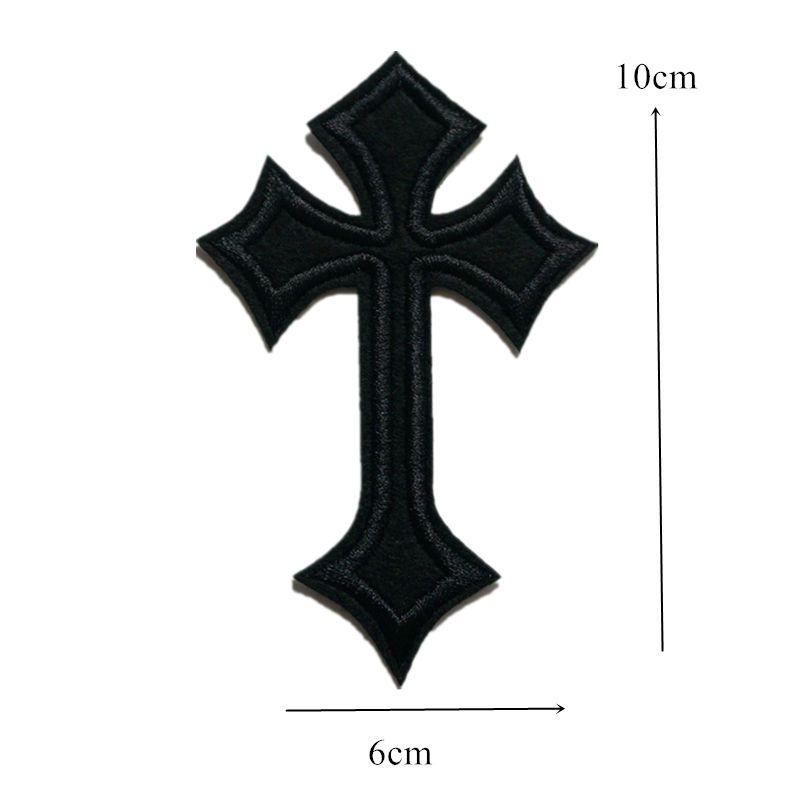 Patch di ricamo nero Jesus Cross Sew Iron On Patch ricamate Badge borsa Jeans Cappello T Shirt Appliques fai da te Decorazione artigianale