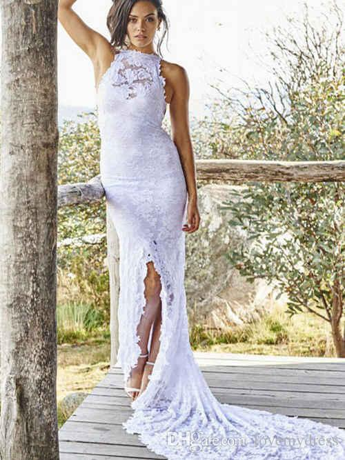 79c765c5b289 Sexy Cheap White Beach Wedding Dresses Sheath Jewel Sheer Neck With Lace  Middle Slit Court Train Plus Size Bridal Gowns Long Fitted Wedding Dress  Glamorous ...