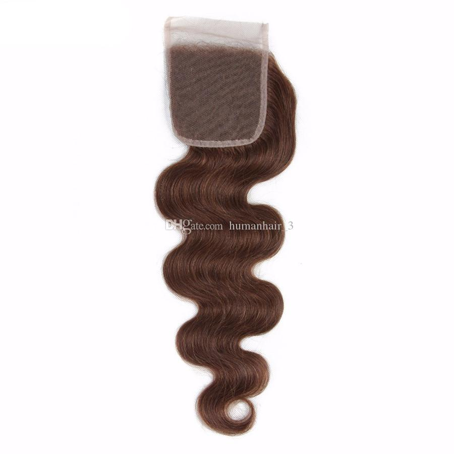Chocolate Brown Body Wave Lace Closure With Bundles Brazilian Virgin Human Hair Weaves With Lace Closure Chestnut Brown Color 4# Body Wave