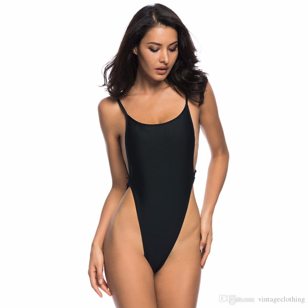 wholesale outlet online sale shades of Sexy High Waist One Piece Swimsuit Backless Swim Suit for Women Beach  Swimwear Black Thong Bathing Suit Monokini M-XL