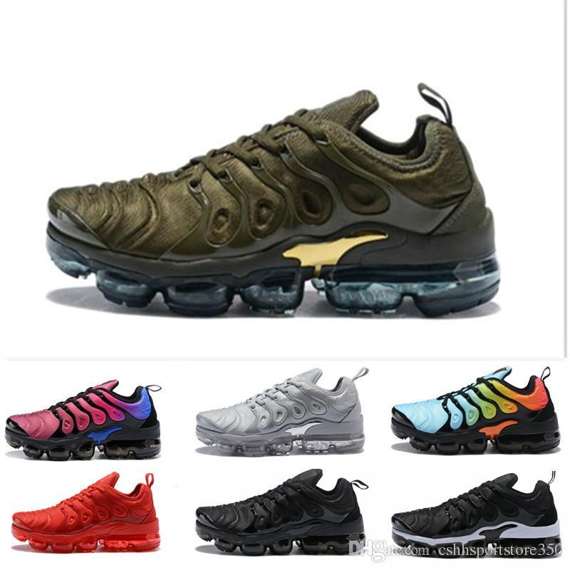 bffaf480 Compre Nike TN Plus Vapormax Air Max Airmax 2018 Zapatos Más Nuevos Para Hombre  TN Triple Negro Oliva Metalizado BETRUE Blanco Plata Más Deporte Zapatillas  ...