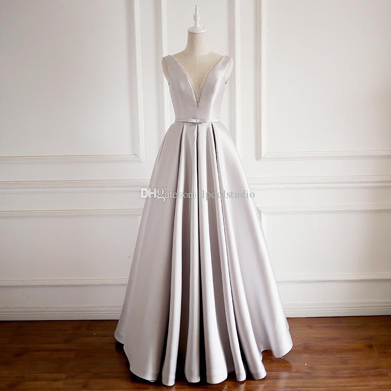 Satin Silver Colored Dresses