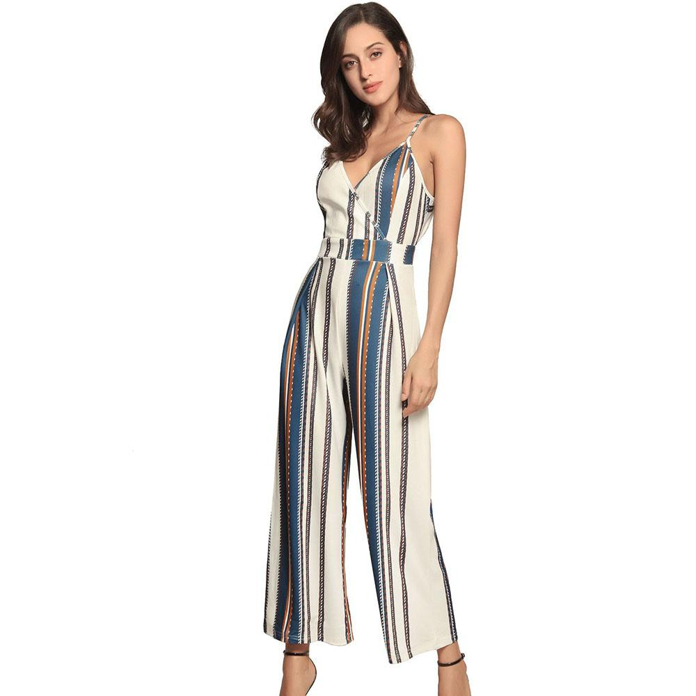 1054ccfc232 2019 Black White Striped Triangulo Jumpsuit Women Plus Size Spaghetti Strap  Backless Rompers Tie Up Bow Jumpsuits Overalls Long Pants From Viviant