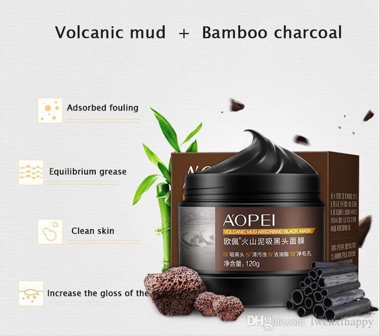 boue volcanique charbon de bambou Masque Noir acné tête noire Peel Off comédons visage Soins de la peau boue huile contrôle Masque facial 120g