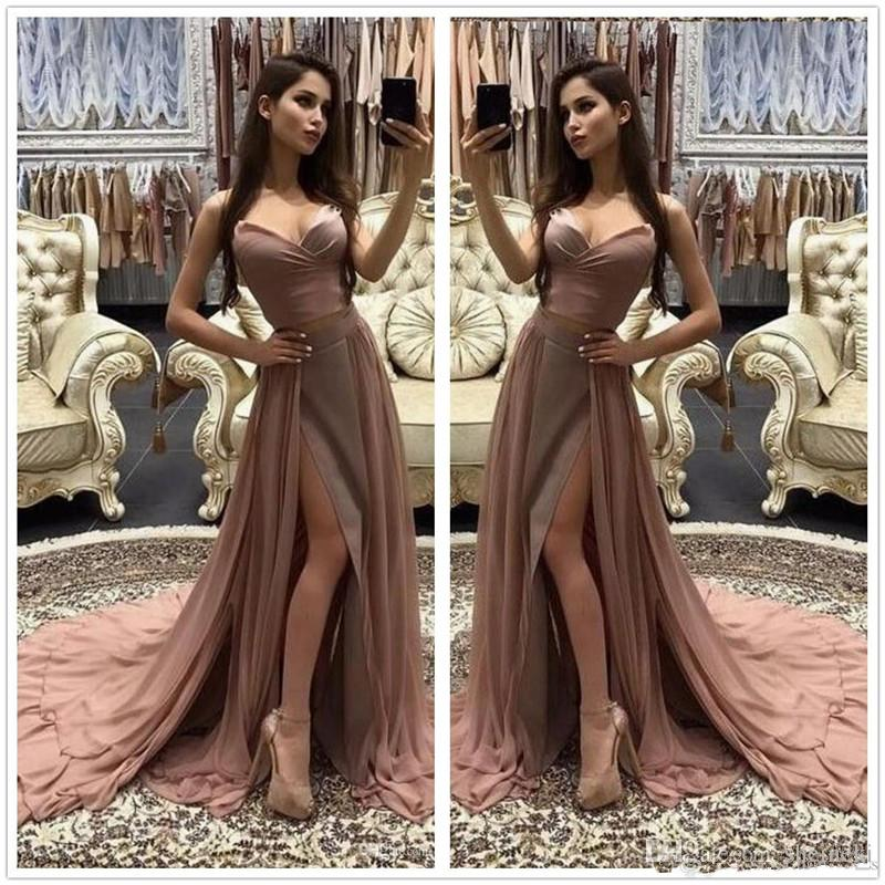5519d9be1a38 2018 New Chiffon Sexy Strapless Split Long Prom Dresses V Neck Sleeveless  Ruched Layered Sweep Train Party Evening Dresses Custom Made Simple Prom  Dresses ...