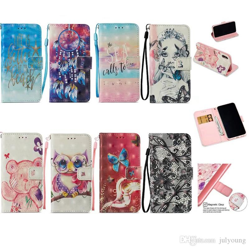 3D Wallet Case For Iphone X 8 7 Plus 6 6s SE 5 Galaxy S9 S8 Leather Butterfly Owl Lace Sexy Lady Dreamcatcher Girl Flip Cover+ID Card Pouch