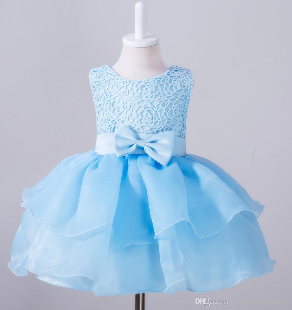 Sky Blue Cute Baby Birthday Dresses Little Kids Flower Girls For ...