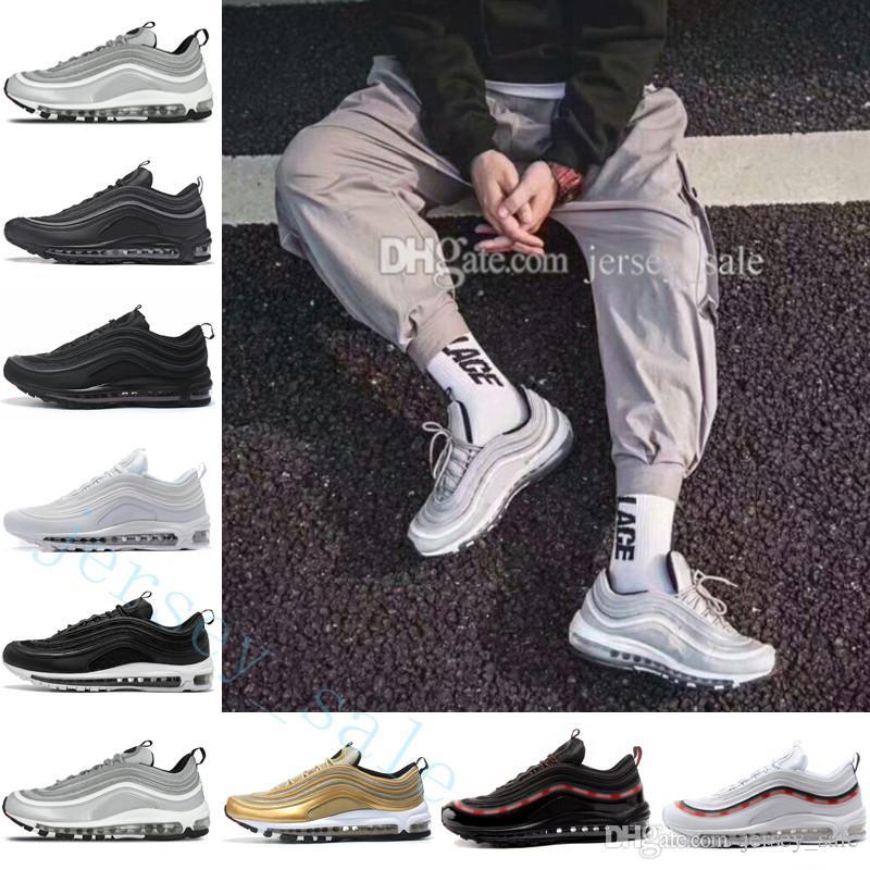 7c6991f3037aae Metallic Gold Silver Bullet Triple Black White 3M PRM Premium Leather  Skepta Running Shoes Men Women Black Beige Trainers Sneakers Sports Online  with ...