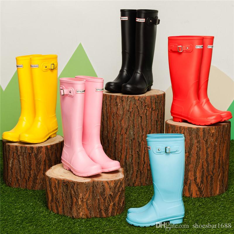 2602c14a32b1 Women's Rainboots Tall Height Rubber Waterproof Rain shoes Wellies Rain  boots Water Shoes 6Colour High quality EH056