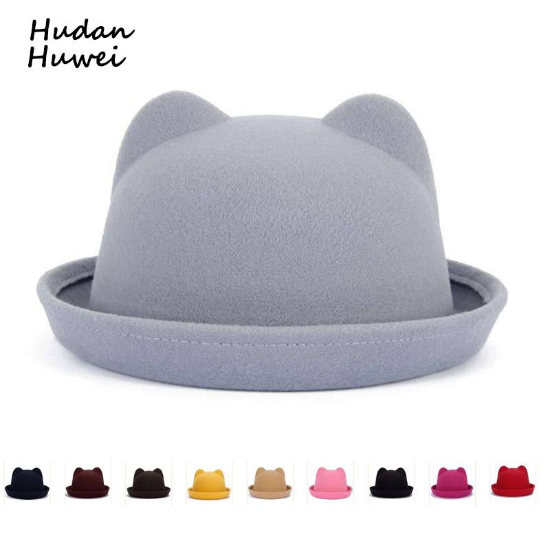 Fashion solid wool felt Fedoras for Women Children Vintage Cat Ear formal trilby hat casual Parent-child cap
