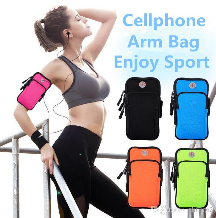 9 Colors Outdoor Cellphone Arm Bag Running Fitness Wristband Arm pack Mobile phone bag cycle coin wallet key Storage bag #SJ01