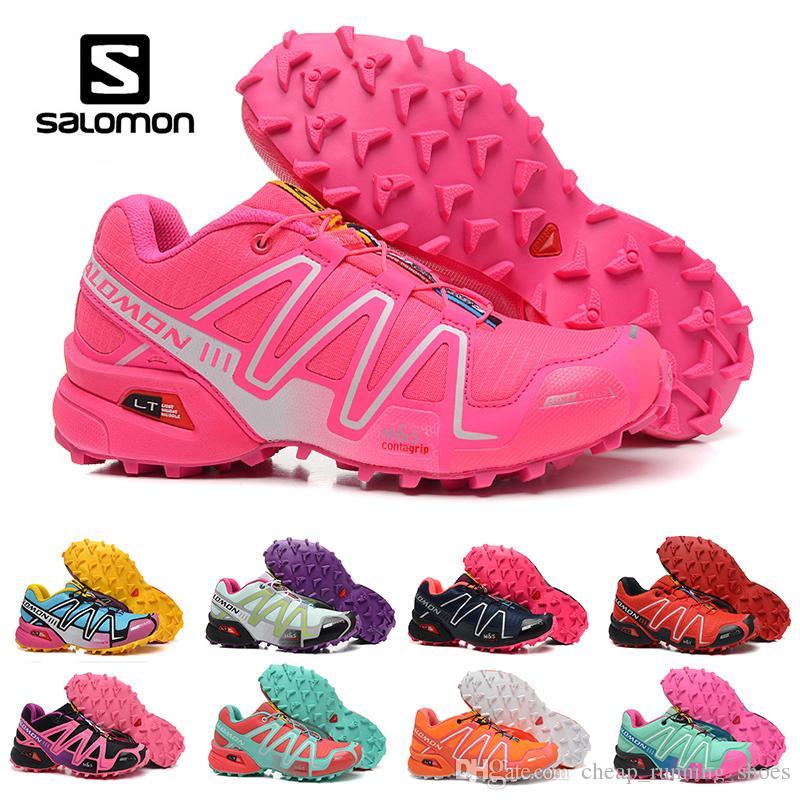 8638e4f478 2018 Salomon Speed Cross 3 CS III Running Shoes Black Silver Red Pink Blue  Women Outdoor SpeedCross 3s Hiking Womens Sports Sneakers 36 41 Neutral  Running ...