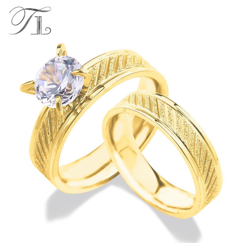 Grosshandel Tl 2 Teile Los Edelstahl Gold Farbe Ringe Big