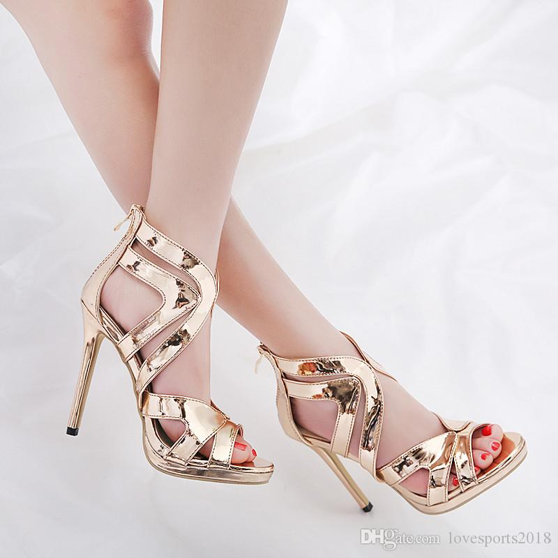 53c63f0582d9 New Fashionl Women High Heel Pumps Open Toe Elegant Western Style Champagne  Sandals Sexy Cuts Out Lady Party Shoes Plus Size White Shoes Silver Sandals  From ...