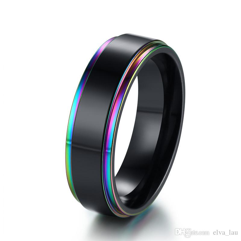Mens Wedding Band.Rainbow Edge Mens Wedding Band Ring 6mm Black Stainless Steel Classic Simple Male Jewelry Statement Us Size 7 12