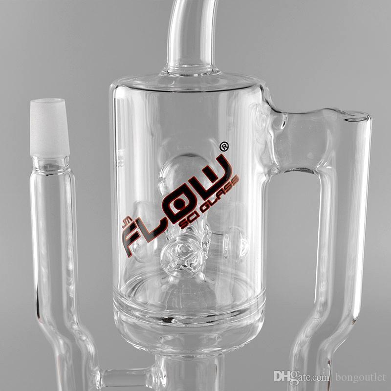 Tubi JM flusso bicchiere d'acqua Recycler vetro Sci Bong con spruzzatore caffettiera Recycler 18 pollici di altezza