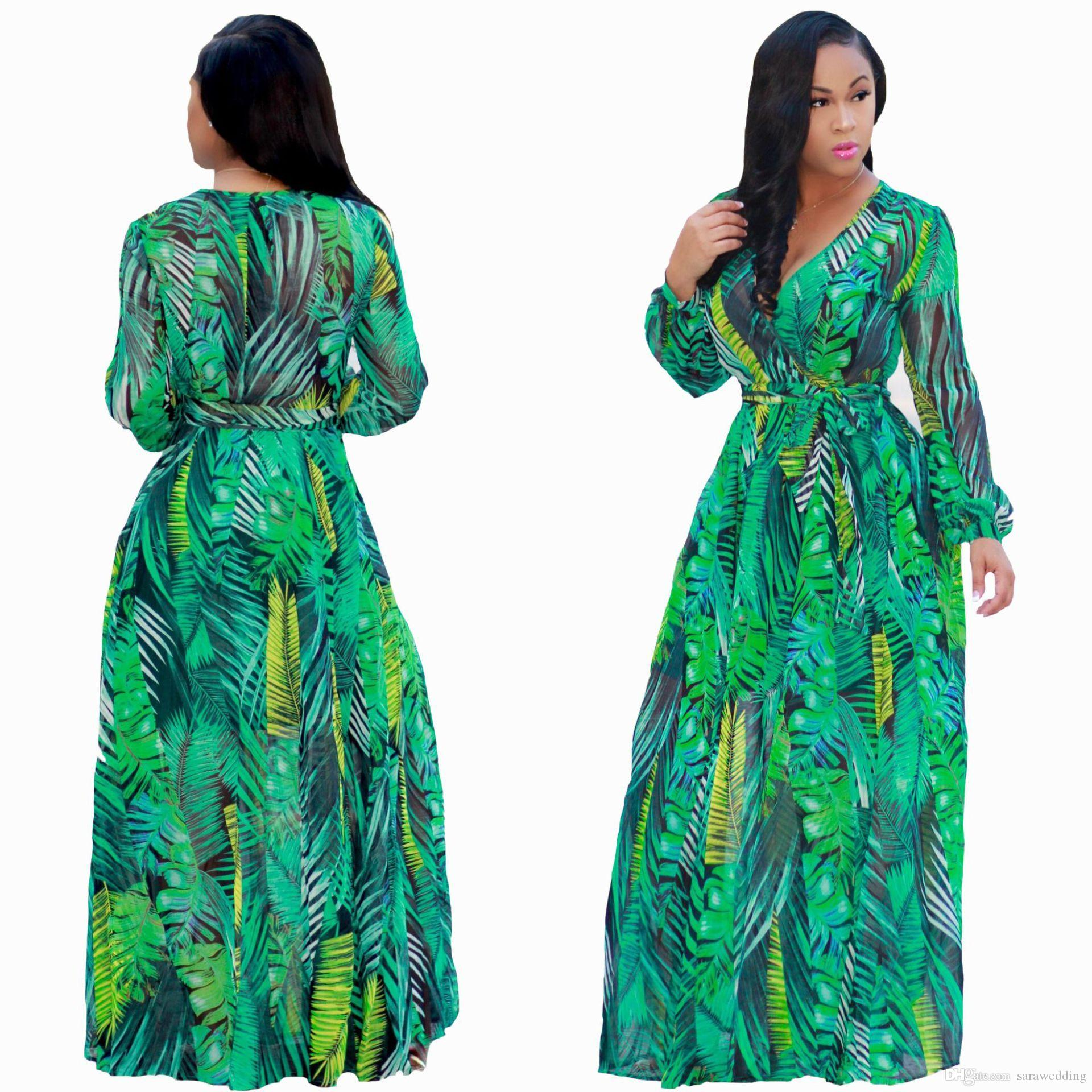 109955b59e4 Printing Floral Chiffon Maxi Dresses 2018 Autumn V Neck Women Bohemian  Dress Long Sleeves Plus Size Female Dresses Long Dresses Sale Dr Ess From  Sarawedding ...