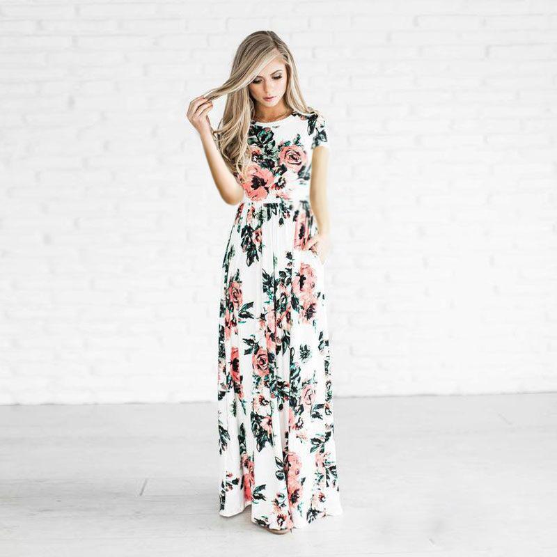 bea46b5f6b429 Satın Al 2018 Kadınlar Çiçek Baskı Üç Çeyrek Kollu Boho Maxi Elbise Yaz Plaj  Uzun Elbiseler Ebeveyn Çocuk Artı Boyutu Elbise Vestidos D001, $11.06    DHgate.