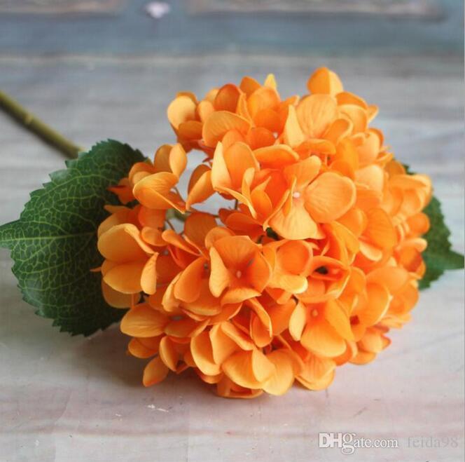 Künstliche Hortensie Blume 47 cm Gefälschte Seide Einzel Real Touch Hortensien für Hochzeit Mittelstücke Home Party Dekorative Blumen GA15