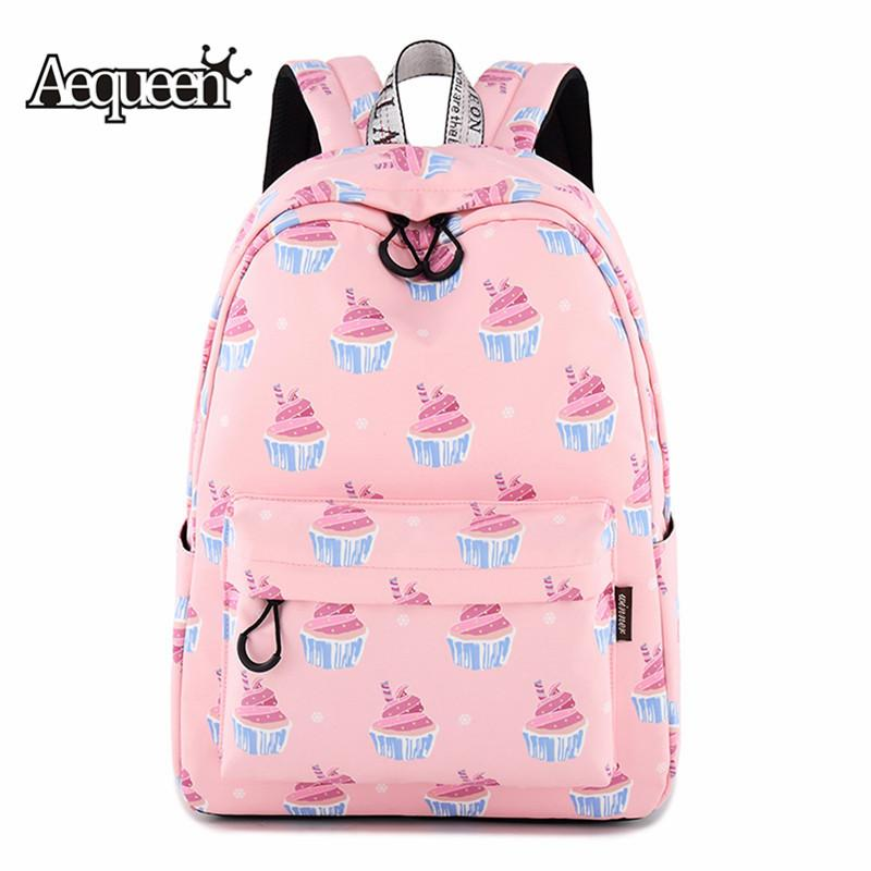 58136113c42 AEQUEEN Cute Pink Canvas Backpacks For Teenagers Girls Female School ...