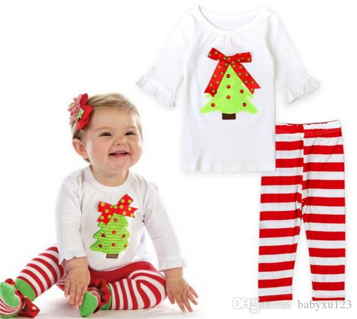 Christmas Outfits suit kids White cotton embroidery t-shirt+ striped pant sets Children Toddler baby Boutique Clothing Y214