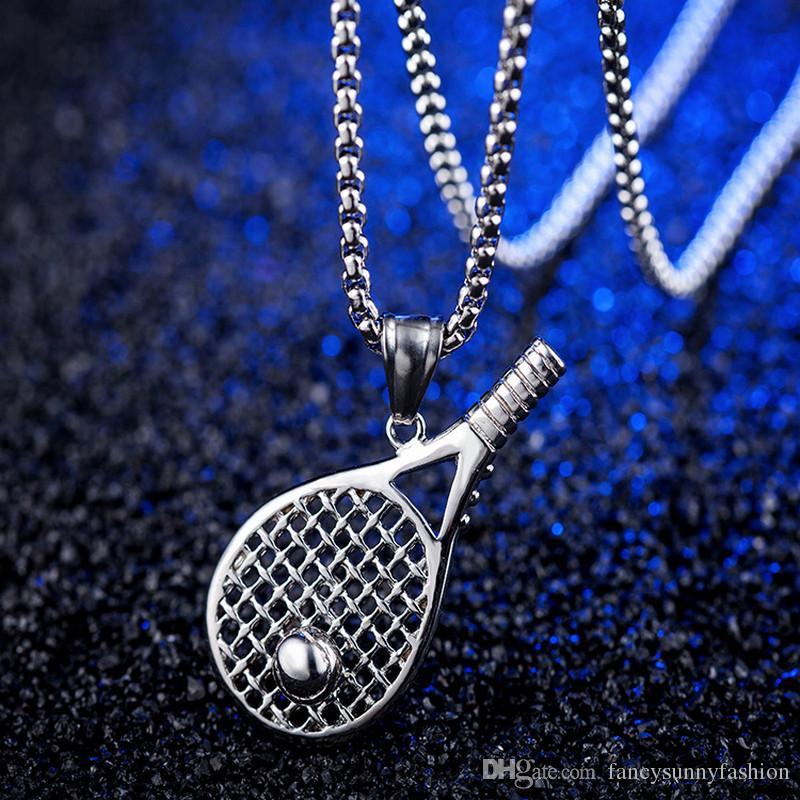 Match football collier hommes chaîne avec pendentif tennis moto Punk Hip Hop bijoux fantaisie accessoires pour hommes Colliers en acier titane