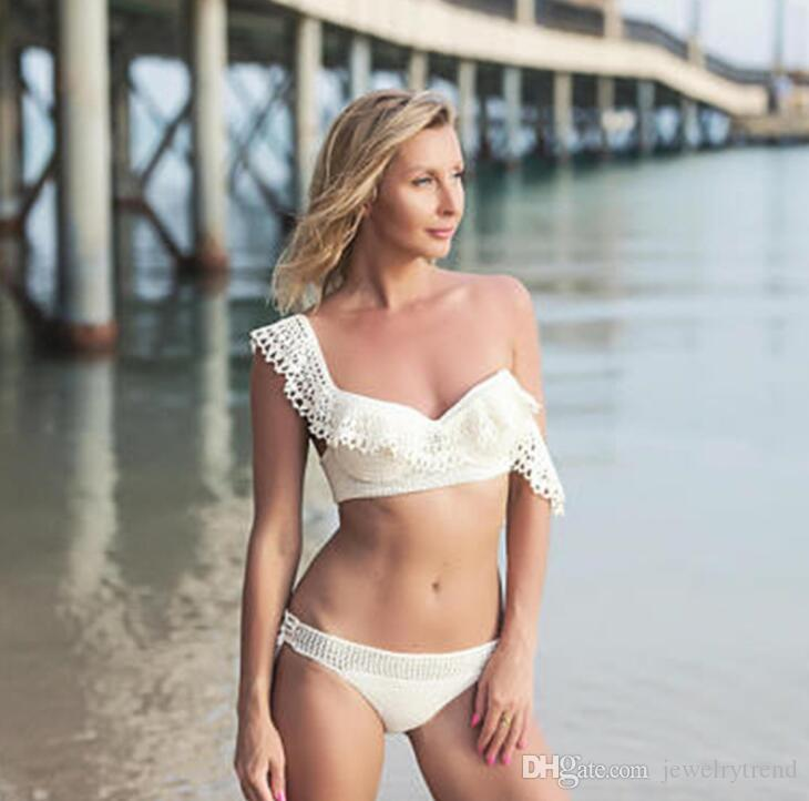f2fd8407f0369 2018 Summer Women Crochet Swimsuit Ruffles Bikini Set Lady s Sexy ...