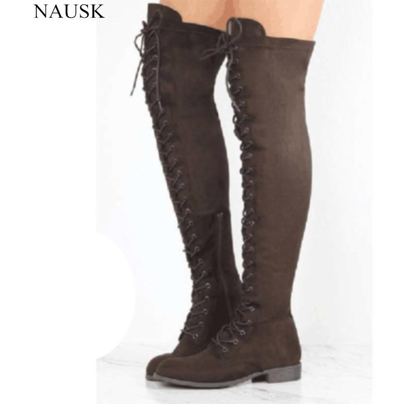 a27444302e NAUSK Sexy Lace Up Over Knee Boots Women Boots Ladies Shoes Woman Square  Heel Rubber Flock Snow Botas 2017 Winter Overknee Cowgirl Boots Wide Calf  Boots ...
