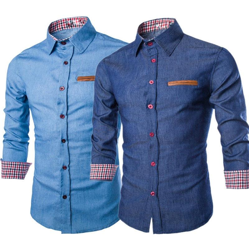 6f890915c12 2 Colour M 3XL Fashion Men Denim Jeans Shirt Casual Long Sleeve Slim Fit  Cotton Tops Cotton Button T Shirts Fun Tshirts Party T Shirts From  Perfectsdrf