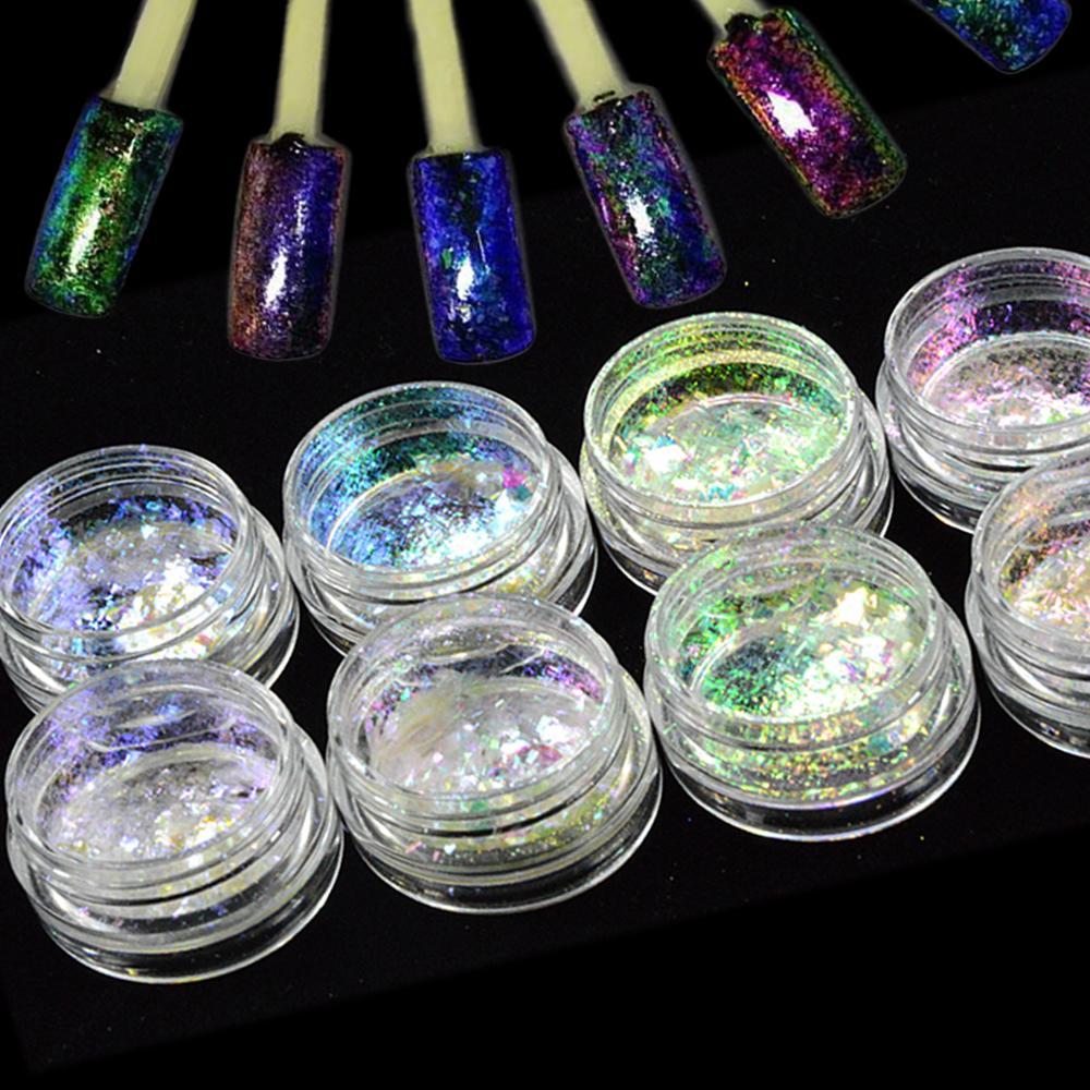 1 Box Transparent Chameleon Flakes Sparkly Effect Nail Glitter Multi ...
