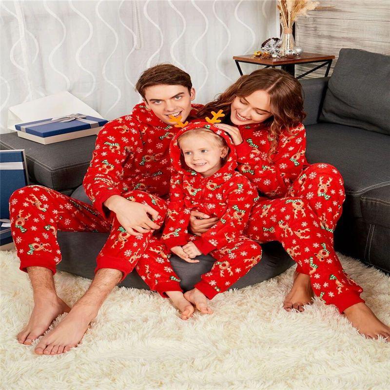 a5b911abd3 Christmas Matching Family Pajamas Elk Print Hooded Red Nightwear Kid ...