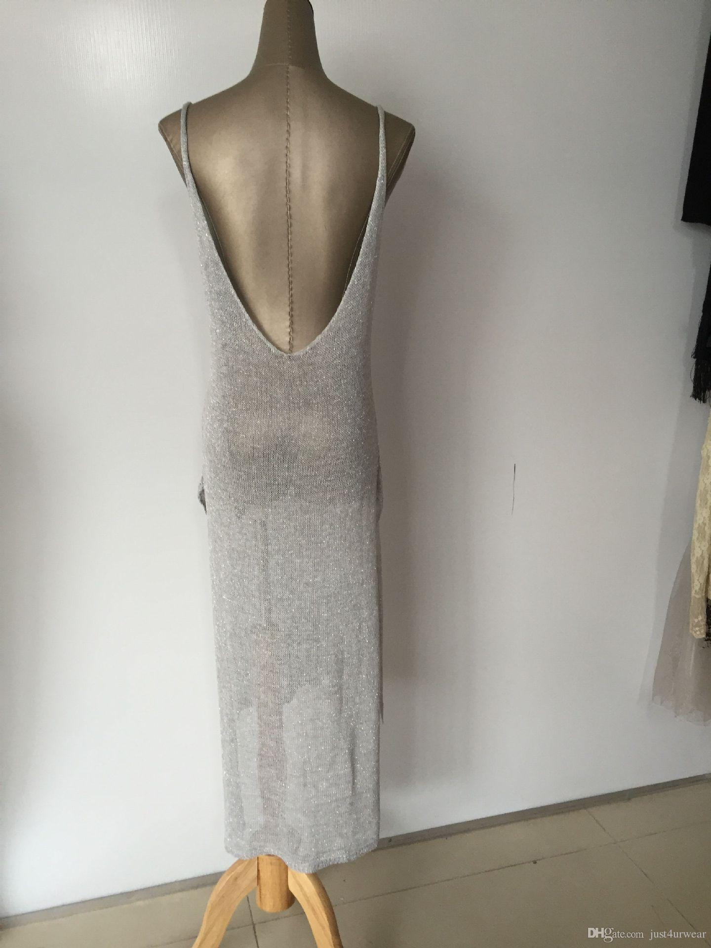 Damenbadwear Sexy Strand-Cover-ups aushöhlen Gestrickte Split-Tank-Top-lange Kleid-Deckel Körperhülle tragen Meer