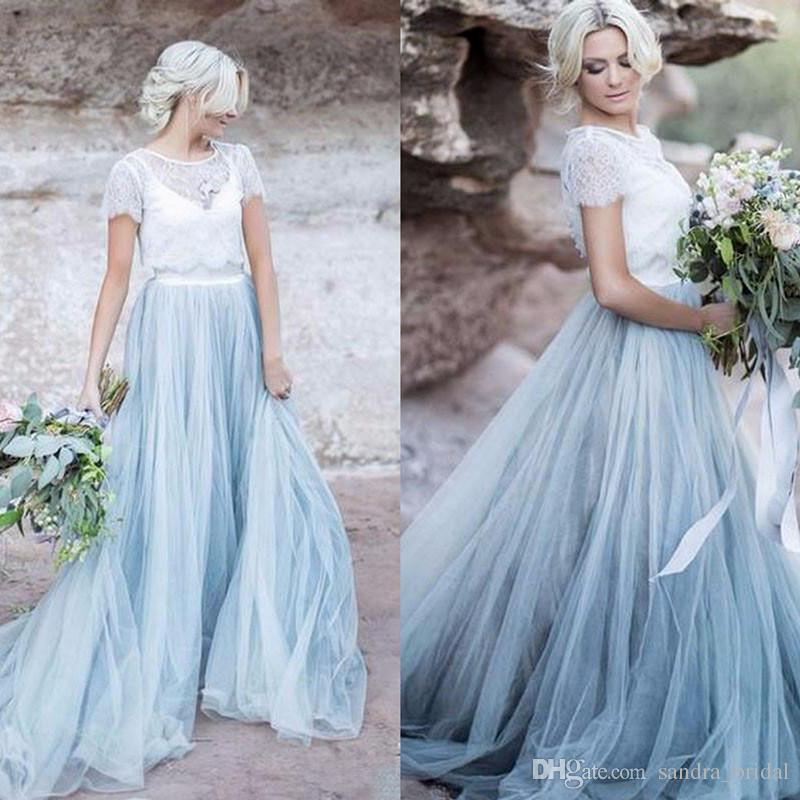 a51dac41881 Sky Blue Tulle Skirts With Lace Top Bridesmaid Dresses Beach Wedding Guest  Gowns Women Formal Party Prom Dress Vestido De Noiva Taffeta Bridesmaid  Dresses ...