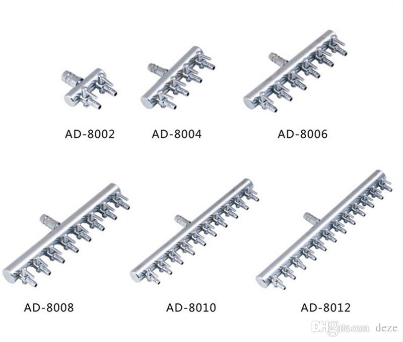 2/4/6/8/10/12 Way Acuario de acero inoxidable Tanque de peces Divisor de flujo de aire Interruptor de válvula de control de CO2 Grifos de colector en línea Accesorios de bomba de aire