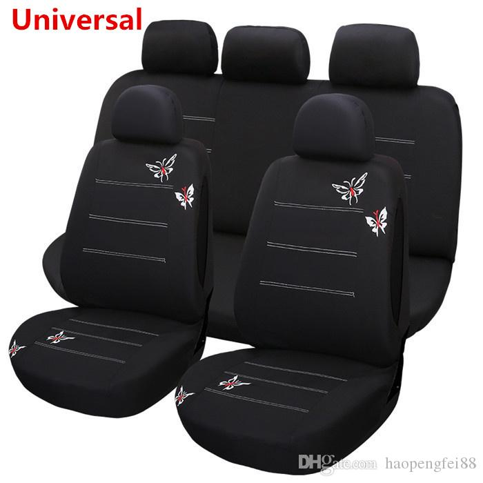 Black Butterfly Embroidery Car Seat Cover Full Set For Interior Accessories Front Rear Custom Covers From Haopengfei88