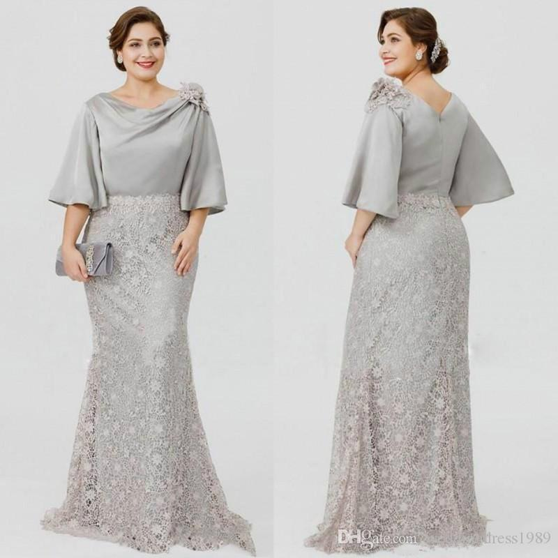a832c4871a8 Beautiful Half Sleeve Plus Size Mother Formal Wear Evening Flower Lace  Party Wedding Guest Dress 2018 Mother Of The Bride Dress Suit Gowns Groom  Mother ...