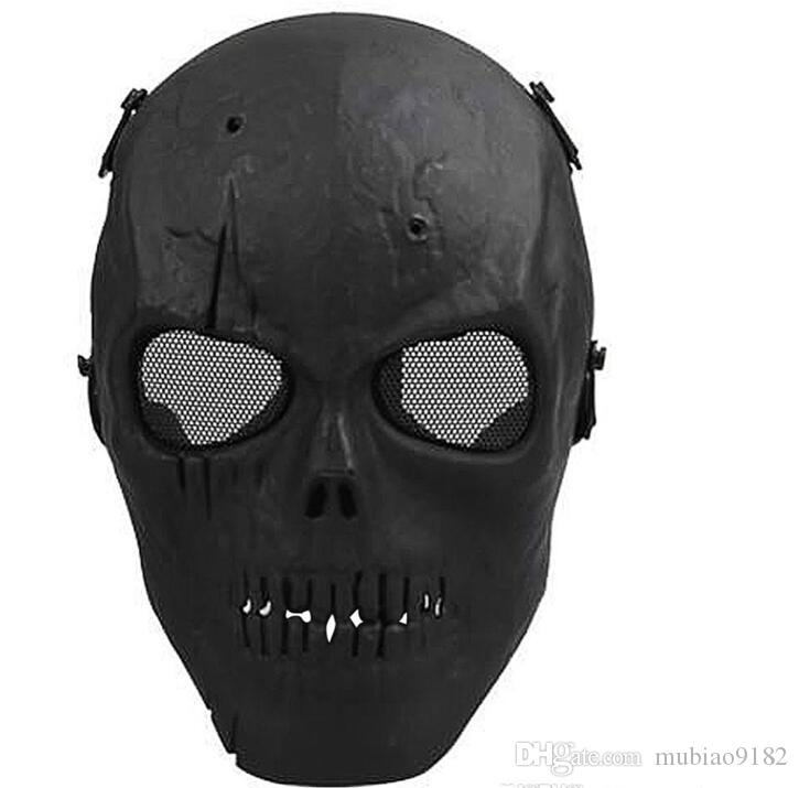 2018 Army Mesh Full Face Mask Skull Skeleton Airsoft Paintball BB Gun Game proteggere la maschera di sicurezza